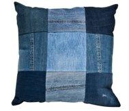 Photosource - http://www.theoldcinema.co.uk - Upcycled Denim Patchwork Cushion