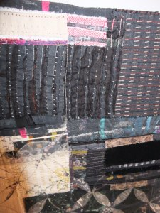 HAZEL BRUCE - uses all sorts of fabrics in her fibre works. Photo taken at Knit and Stitch show 2012.