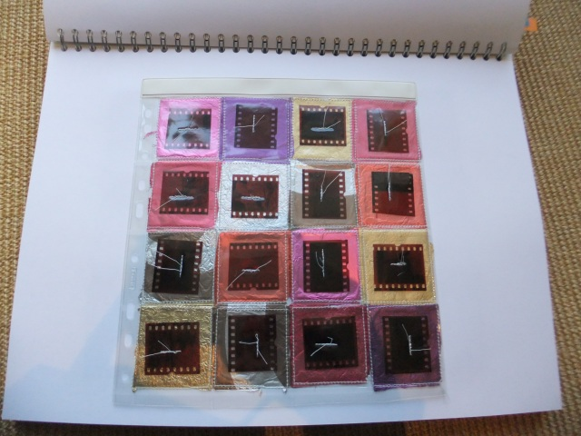 Sample 4 - old pocket sleeve for slides, foil wrappings from Easter eggs. old film.