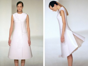 Before Minus Now dress is made of materials used in aircraft construction which changes shape by remote control.