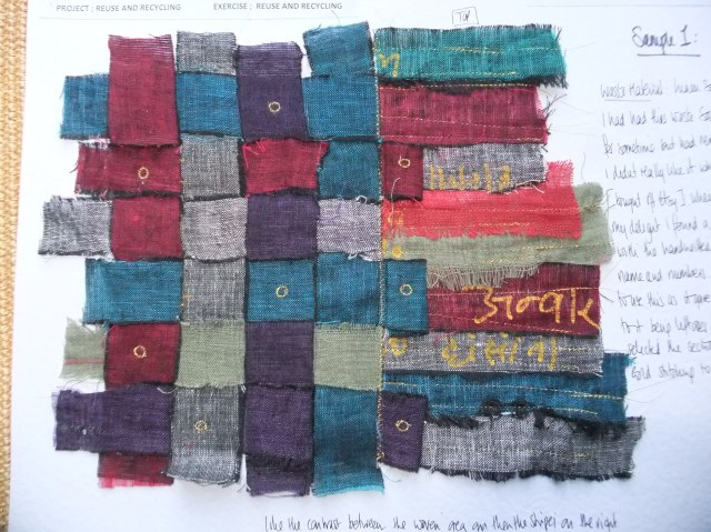 Sample 1 - Linen sari waste with the wonderful yellow marker pen hand writing giving it some real authenticity. I wanted to do more than just weave it.
