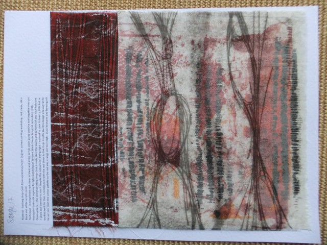 Sample 17 - monoprint onto organza and stitched over double screen printed background with free screen printed image