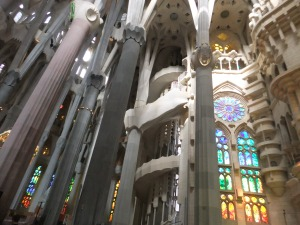 La Sagrada Familia - incredibly tall strong pillars inspired by natures forests.