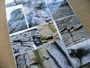 Double spread photos of rocks for inspiration