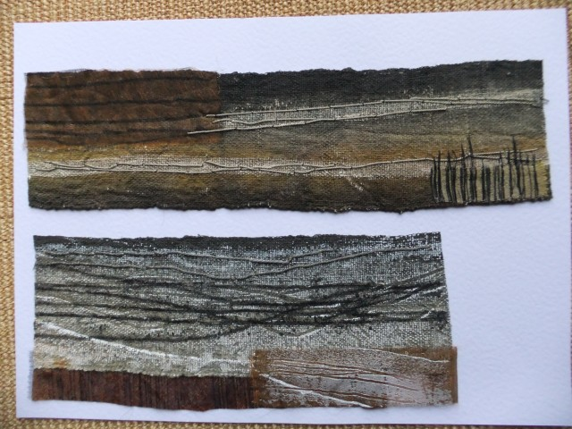 sample 18 and 19 - hand dyed and monoprint hemp in different ways. hand stitching and sheer appliqued sections.