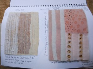 Sample 2 and 3 - layers and slashing on the left - wool felt and organza sandwich with deep burn holes on right