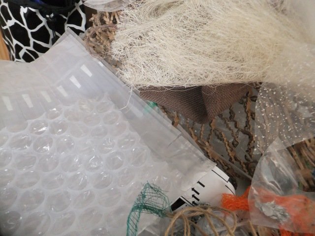 Packaging - mesh, bubble, tissue etc - all would normally have been thrown away.