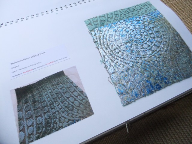 Sample 2 - Existing material. Transformed with silver and blue transfoil.