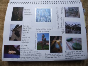 Page 2 - items around. Public art, railings, greetings card, lampsbade at friends house.