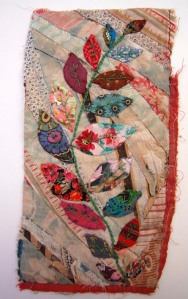 MANDY PATTULLO - Uses recycled fabrics for her fabric collages. Photosource - www.mandypattullo.co.uk