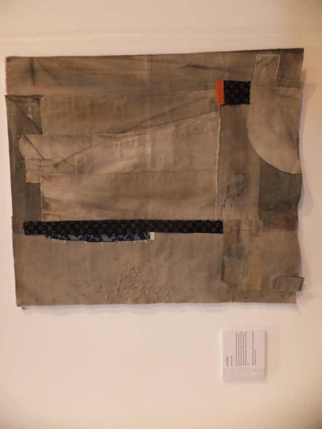 """Jan Miller - part of the 62 Group.  """"Binding cloth"""" - hand stitched textile constructed from retrieved linens from Abbey Court Hotel."""