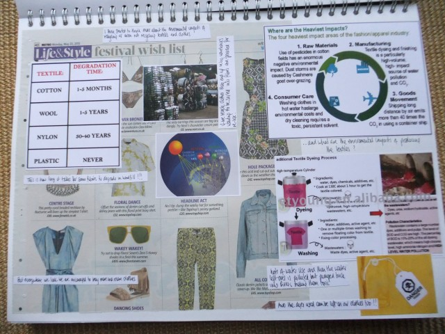 "Page 3 - I have used a newspaper fashion ""wish list"" to mount these images on as this is the kind of marketing that persuades us to keep buying more stuff that we don't actually need."