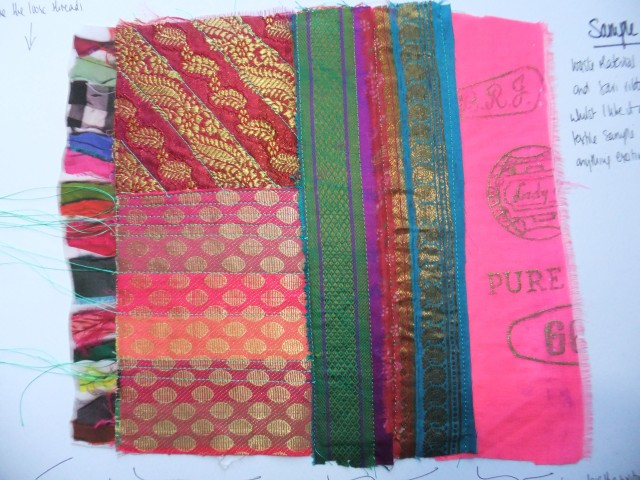 Sample 4 - sari chiffon waste from selvedge or end of roll and sari squares