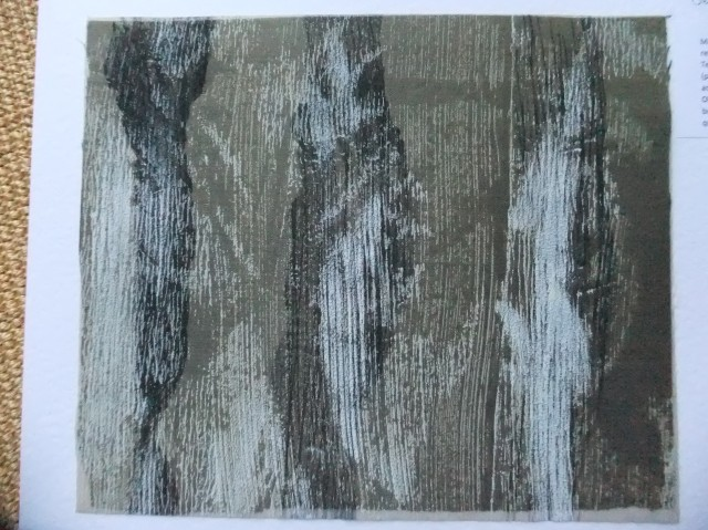Sample 5 -  black and white monoprint masked off lines