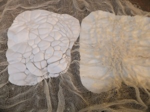 5 - Tyvek bondaweb and muslin sandwich all shrunk together at same time with iron so the muslin is pulled in. Did 2 samples, ironed both ways to see if the results were different.