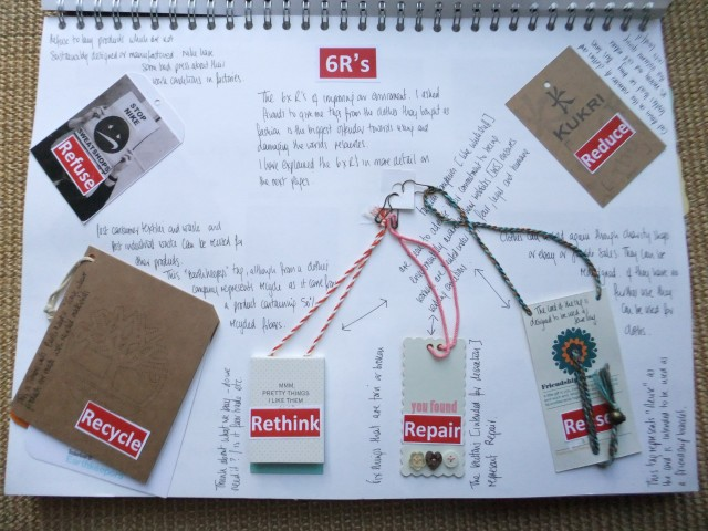 Page 5 - this has a fold down page that over laps - see Page 6 following. All about fashion. I have included some clothes labels to carry the message of the 6R's. I was quite pleased with this as some worked well - for example for Repair I used a tag with buttons on, for Reuse I used a tag that has a bracelet within the tag string and Recycle I used a tag from a company that has used recycled materials in the product.