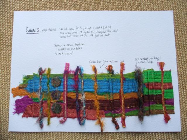 Sample 5 - using sari ribbon, sari ribbon yarn and some sari fibre.
