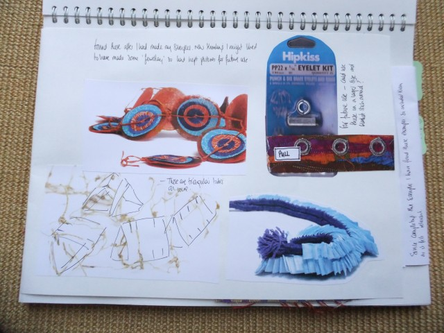 Sketchbook page - at the end I thought it might have been interesting to make some jewellery and kind of wished I had thought about it earlier ! Recording ideas for future use.