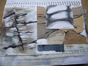 Several rock strata and lines in rocks sketches in charcoal, watercolour, sharpie on salvaged paper etc. Different sized papers for interest.
