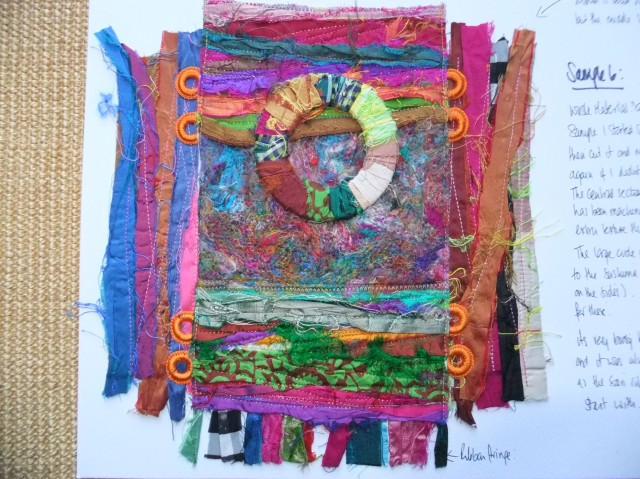 Sample 6  -Sari yarn and a central circle of plastic disc wrapped in sari yarn. The central section was needle embellished / felted with the shredded silk sari yarn. It adds some variety in textures I think.