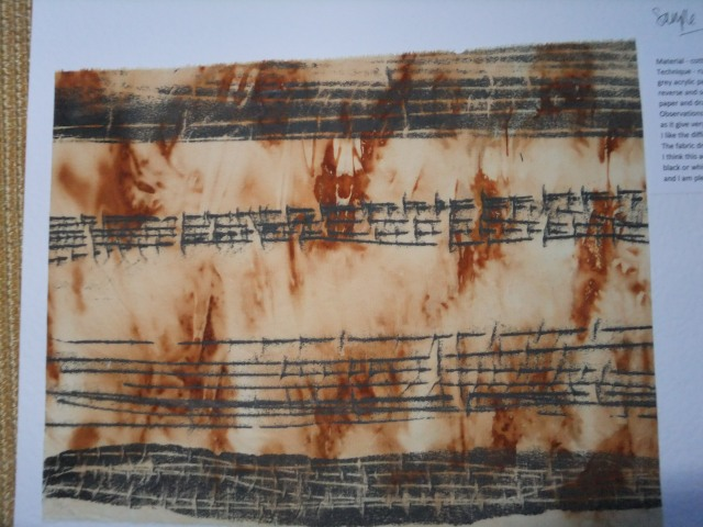 sample 7 - rust dyed base and mono printed lines