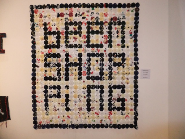 """Lyn Settrington - """"Been shopping"""" made from plastic bags - quite appropriate for my chosen message for textiles from found materials."""