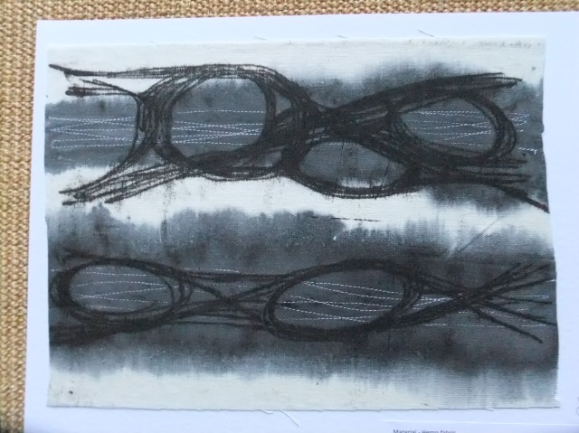 sample 8 white stitches lines, grey dye and monoprint over the top