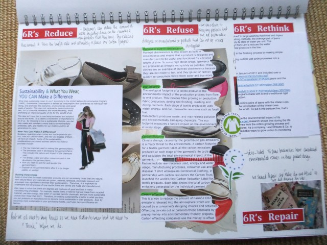 Page 8 - Page 7 - Looking at the 6R's in more detail. Reduce, Refuse, Rethink and Repair all on a backdrop of shoe mail order catalogue.