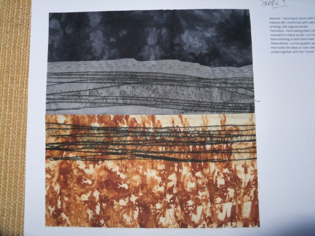 sample 10 - rust dyed silk and monoprint and hand dyed cotton top with silk organza strip and grey monoprint.