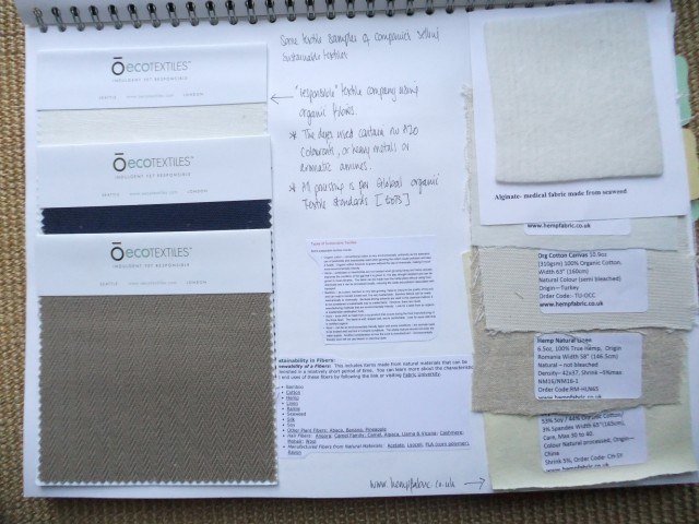 Page 9 - Looking at sustainability in fibres for fabrics. Fabric samples.