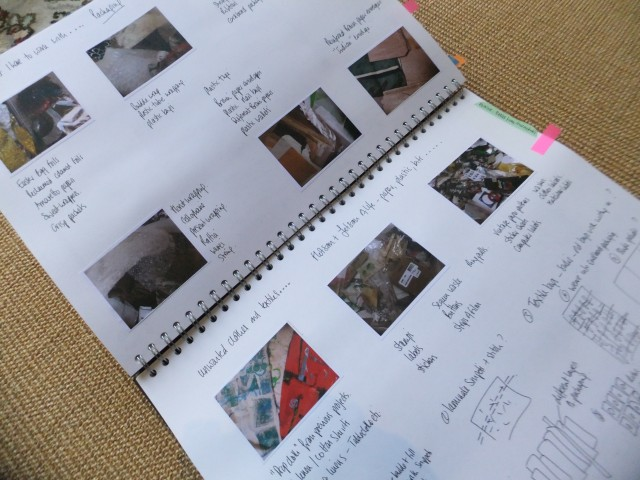 Sketchbook pages to show the recorded journey of my found materials towards their new life.