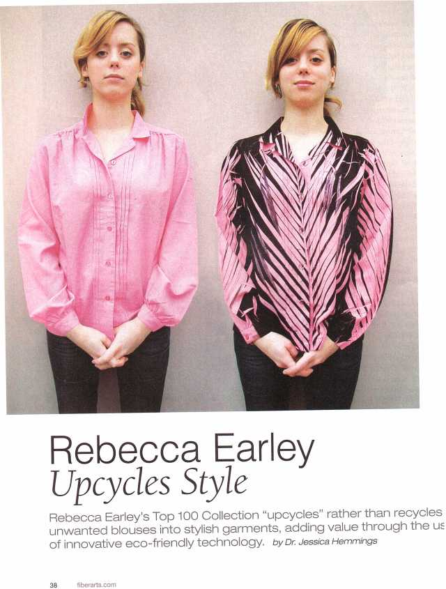 "PAGE 1 Rebecca Early magazine article - Jan/Feb 2009 FibreArts. ""Upcycles style"""