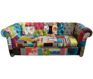 Patchwork upholstered chesterfield. Photosource - www.the oldcinema.co.uk