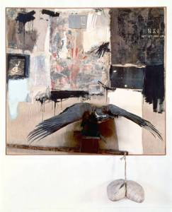 """Robert Rauschenberg """"Canyon""""1959.  Photosource - http://arthistory.about.com Assemblage: oil, house paint, pencil, paper, fabric, metal, buttons, nails, cardboard, printed paper, photographs, wood, paint tubes, mirror string, pillow & bald eagle on canvas."""