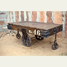 Table made from an old railway cart  Photosource - http://www.littletreefurniture.co.uk