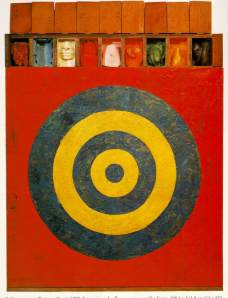 Target with plaster casts - JASPER JOHNS 1955. Note the target layout and banner at the top to compare with Peter Blake's target below.
