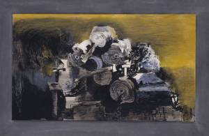 Graham Sutherland Devastation 1941 - Sutherland was one of several painters commissioned by the War Artists Advisory Committee to record the devastation of the London Blitz. This one depicts rolls of paper in the wreckage of a warehouse which he used as metaphors for the human damage that he was not allowed to depict