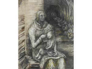 HENRY MOORE seated mother and child taking refuge in a bomb shelter