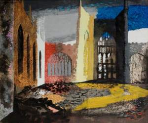 John Piper Interior of Coventry Cathedral 1940