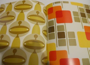 A page from her book of patterns showing her inspiration from the 60's and 70's