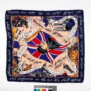 Second World War British propaganda scarf by Jacqmar celebrating the wartime achievements of Prime Minister Winston Churchill.