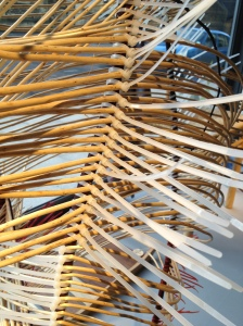 Mary Butcher - willow work in window at Gloucestershire Guild of Craftsmen - detail showing use of cable ties.