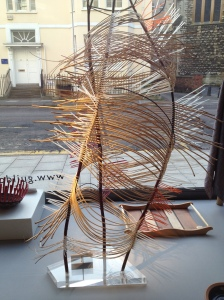 Mary Butcher - willow work in window at Gloucestershire Guild of Craftsmen.