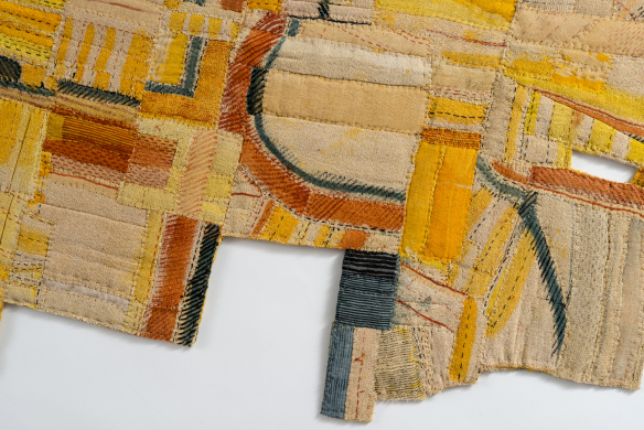 Pittcroft Whip Ha', pigment and dye on folded and stitched cloth, 130 x 70cm, is Matthew Harris' completed cloth artwork for Field Notes. The name makes reference to fields listed on the 'Leeke Survey', a historic record of the carving and cutting up of land where fields have become fragments, floating free of any surrounding landscape. One of the starting points for Field Notes project was a visit to the Shropshire Archive which has an inspirational collection of ancient maps