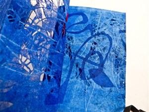 """PAT HODSON – """"Web"""" blue – laser cut polyester"""