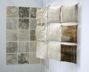 ALICE FOX – fabrics displayed on tensioned wired alongside development ideas. (ref - http://media-cache-ak0.pinimg.com/736x/39/56/5e/39565eb38c7c51336d0e77343a24f7c1.jpg)