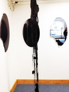 Michelle Mary Dawson – Psychopomp Hanging 2014 - Black wax, yearn, crows wings, cotton, branches