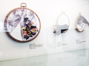 Anthea Walsh – Barnacle Embroidery Hoop 2013. Hand embroidery and digital print. Displayed hung on walls as pictures in a protective glass cabinet.