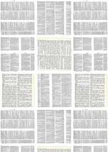 Using dictionary sheet as designwas made as a patch work and then scanned and digitally
