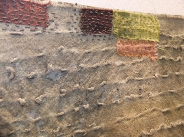 Caldwell, D.( 2013) 'Knitting and Stitch Show' Alexandra Palace, London : 10 Oct – 13 Oct. Detail of printed and stitched fabrics